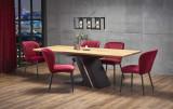 Cumpara ieftin Set masa extensibila din MDF si metal Ferguson Stejar / Negru + 6 scaune tapitate cu stofa K399 Bordeaux, L160-220xl90xH75 cm