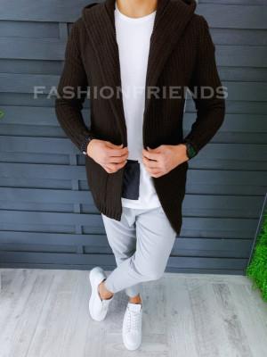 Cardigan barbati maro cu gluga slim fit ZR T3516 foto