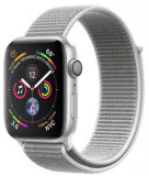Smartwatch Apple Watch 4, 40mm, LTPO OLED Retina Display, GPS, Bluetooth, Wi-Fi, Bratara Sport Loop Argintie, Carcasa aluminiu, Rezistent la apa si pr