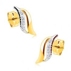 Cercei din aur 14K - luciosi, bicolori, linie de zirconii transparente