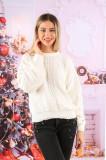 Pulover dama ieftin din tricot alb cu model romburi
