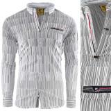 Camasa pentru barbati flex fit gri casual cu guler sedna matrix