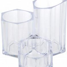 Suport Organizare cosmetice NAGO 3 compartimente Plexiglas 14x14xH12 cm G237g Transparent