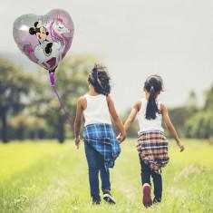 Balon folie Unicorn, inimioara cu imprimeu Minnie, 45x45 cm