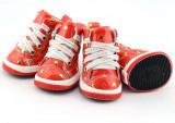 Pantofi câine - roşu cu inimioare, L