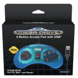 Controller Cu Cablu Sega Mega Drive 8 Button Arcade Pad Usb Blue Pc