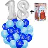 """Pachet majorat baloane """"18"""", 2 folii argintii+30 latex+ 1 butelie heliu-2018110"""