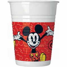 Pahare Mickey Mouse Super Cool din plastic 200ml set 8 buc
