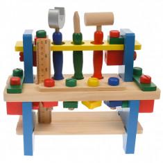 Banc de scule de jucarie pentru copii, din lemn, 16 accesorii - 11150435