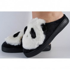 Papuci de casa alb cu negru (cod 418001)