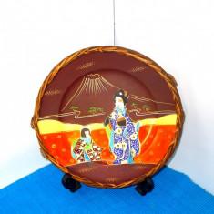Farfurie portelan impletitura ratan, cca. 1900 pictura manuala - Satsuma Moriage