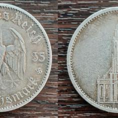(A13) MONEDA DIN ARGINT GERMANIA - 5 MARK 1935, LIT. A, BISERICA DIN POTSDAM