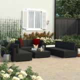 Cumpara ieftin Set mobilier de grădină cu perne 7 piese negru poliratan