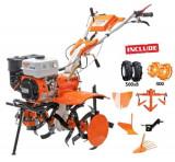 Motosapatoare RURIS 731ACC1 + roti cauciuc 5.00-8 + rarita + plug + adaptor + dispozitiv scos cartofi + roti metalice 400 fara manicot + cultivator, 7