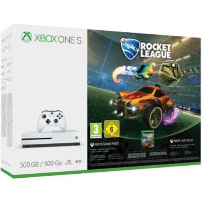 Consola MICROSOFT Xbox One S 500 GB, alb + Joc Rocket League foto