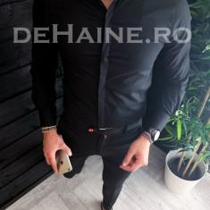 Camasa pentru barbati neagra - PREMIUM - camasa slim fit - cod A3749, L, M, S, XL, XXL, Maneca lunga, Din imagine