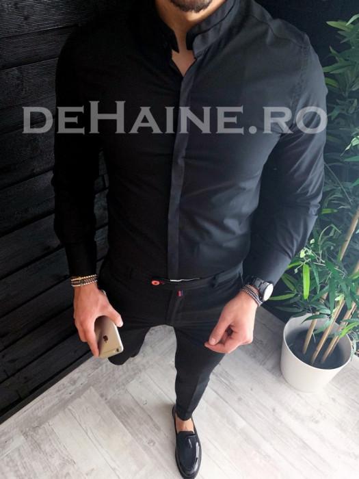 Camasa pentru barbati neagra - PREMIUM - camasa slim fit - cod A3749
