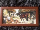 """Tablou,litografie rustica""""Casa taraneasca"""",rama din lemn"""