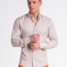 Camasa premium, casual, barbati - K495-bej-portocaliu