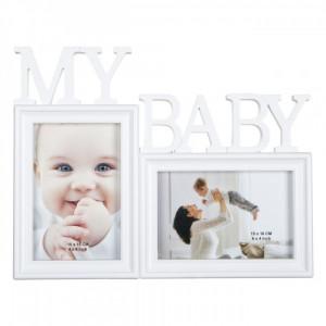 Rama foto bebe, model cu fotografii, 31×24 cm, alb
