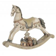 Figurina decorativa polirasina Craciun cal cu balansoar 22x5x19 cm
