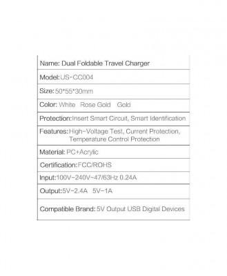 Incarcator Retea Usams U2+ Dual USB Rose Gold foto