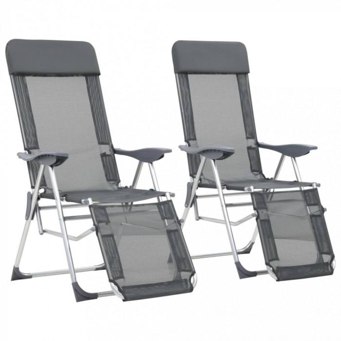 vidaXL Scaune camping pliabile 2 buc gri aluminiu cu suport picioare