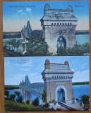 2 carti postale cu podul de la Cernavoda , Regele Carol I ,  interbelice