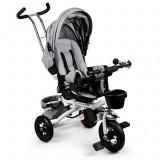 Tricicleta cu scaun rotativ, maner parental, copertina, cos depozitare, suport picioare, centura, culoare gri, Ecotoys