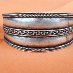 BRATARA argint RAJASTHAN INDIA reglabila TRIBALA splendida VECHE patina minunata