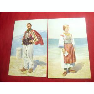 2 Ilustrate vechi Dalmatia - Costume Populare ,inc.sec.XX