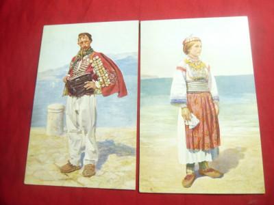 2 Ilustrate vechi Dalmatia - Costume Populare ,inc.sec.XX foto