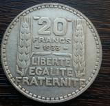 (A141) MONEDA DIN ARGINT FRANTA - 20 FRANCS 1933, 20 GRAME, PURITATE 680/1000