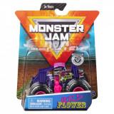 Masinuta Monster Jam, Scara 1:64, Wild Flower cu figurina, Mov
