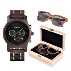 Set ceas din lemn Bobo Bird P19 si ochelari de soare din lemn Wooden Lux