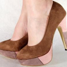 Pantofi maro casual pumps dama/femei cu toc (cod HA-015), 38 - 40