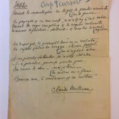 Manuscris inedit poezie CLAUDIA MILLIAN (Minulescu) - JAZZ (1 pagina)