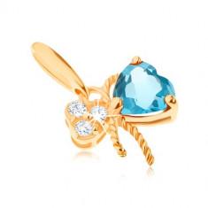 Cumpara ieftin Pandantiv de aur 375 - fundă decorată cu topaz albastru şi zirconii transparente