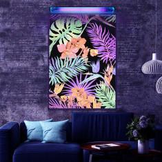 Poster fluorescent reactiv UV Exotic Leaves 86x61cm, efect neon blacklight
