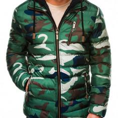 Geaca pentru barbati, verde-camuflaj, impermeabila, fermoar, model slim, gluga si pieptar detasabile - c384