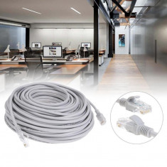 Cablu internet UTP, retea LAN, mufa RJ45 standard, lungime 10 m, gri