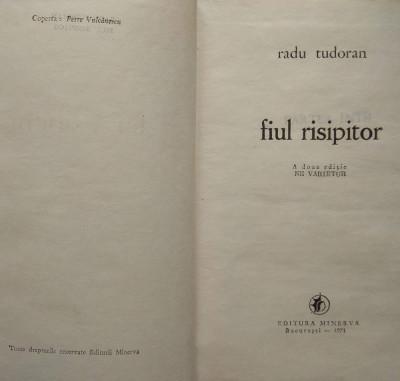 carte roman Fiul risipitor – Radu Tudoran editura Minerva foto