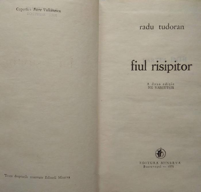 carte roman Fiul risipitor – Radu Tudoran editura Minerva