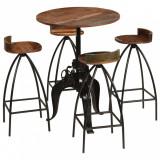 VidaXL Set mobilier de bar, 5 piese, lemn masiv reciclat