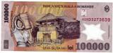 Bancnota 100.000 lei 2001  ( 100000 ) prefix 02 2002 polymer VF+