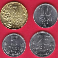 SV * Moldova  LOT  5 - 10 - 25 - 50  BANI  2018 - 2017 - 2008     UNC