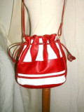 Geanta retro piele naturala rosu/alb anii 80