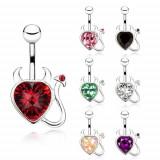 Inel pentru buric din oțel, inimă din zirconiu cu coadă și coarne - Culoare zirconiu piercing: Negru - K