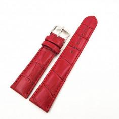 Curea Ceas Piele Rosie Cu Imprimeu Crocodil 12mm - 26mm