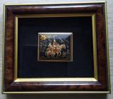 Tablou arta damaschina Toledo lucrat în aur : Don Quijote și Sancho Panza